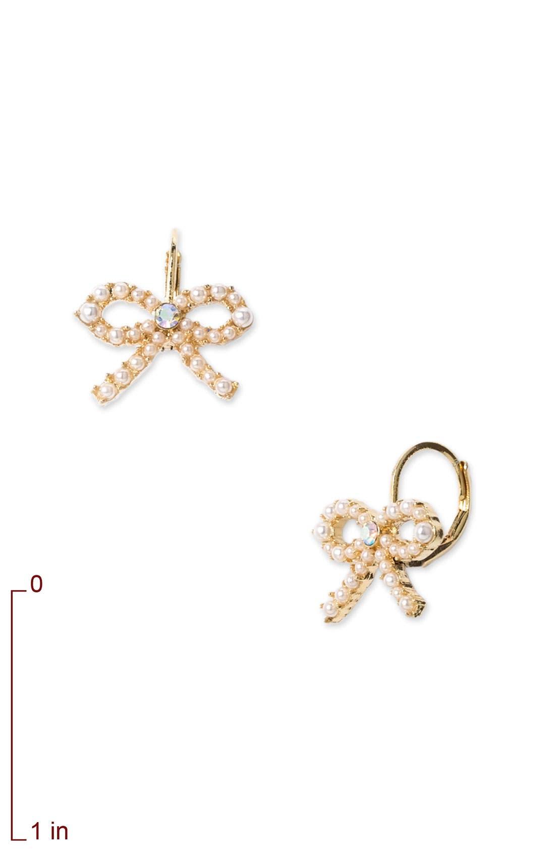 Alternate Image 2  - Betsey Johnson Pearl Bow Drop Earrings