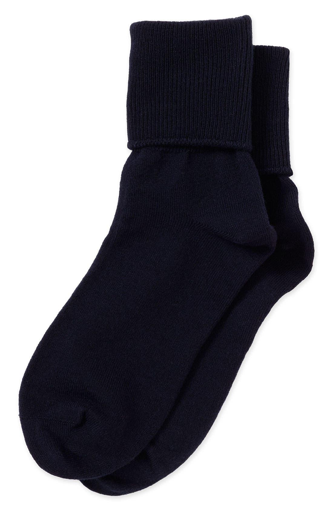 Main Image - Nordstrom Cotton Blend Socks with Turn Cuffs (Baby Girls, Toddler Girls, Little Girls & Big Girls)