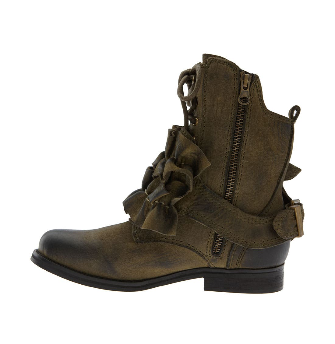 'All-Ruffle' Ankle Boot,                             Alternate thumbnail 2, color,                             Khaki