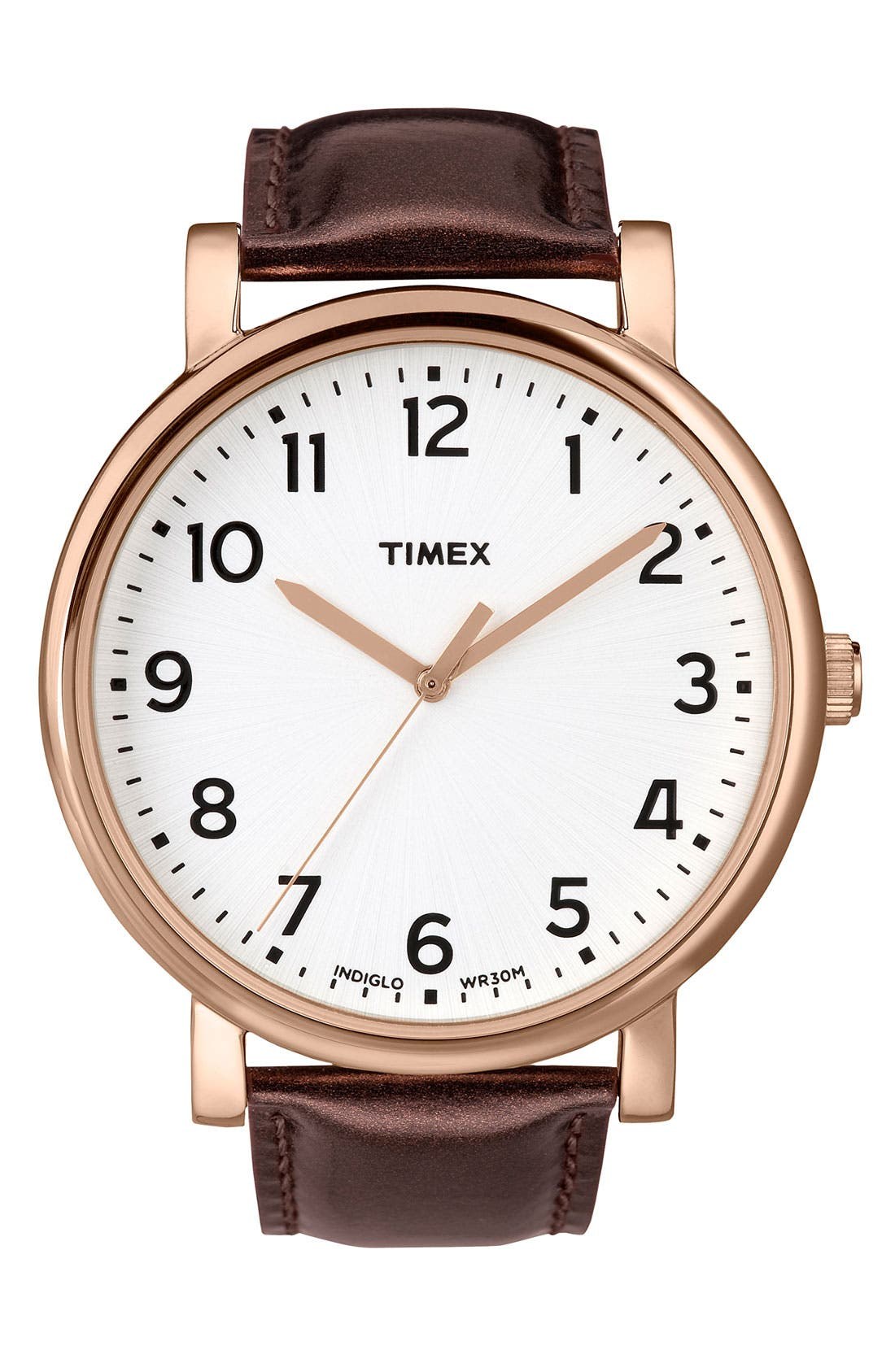'Easy Reader' Leather Strap Watch, 42mm,                         Main,                         color, Brown
