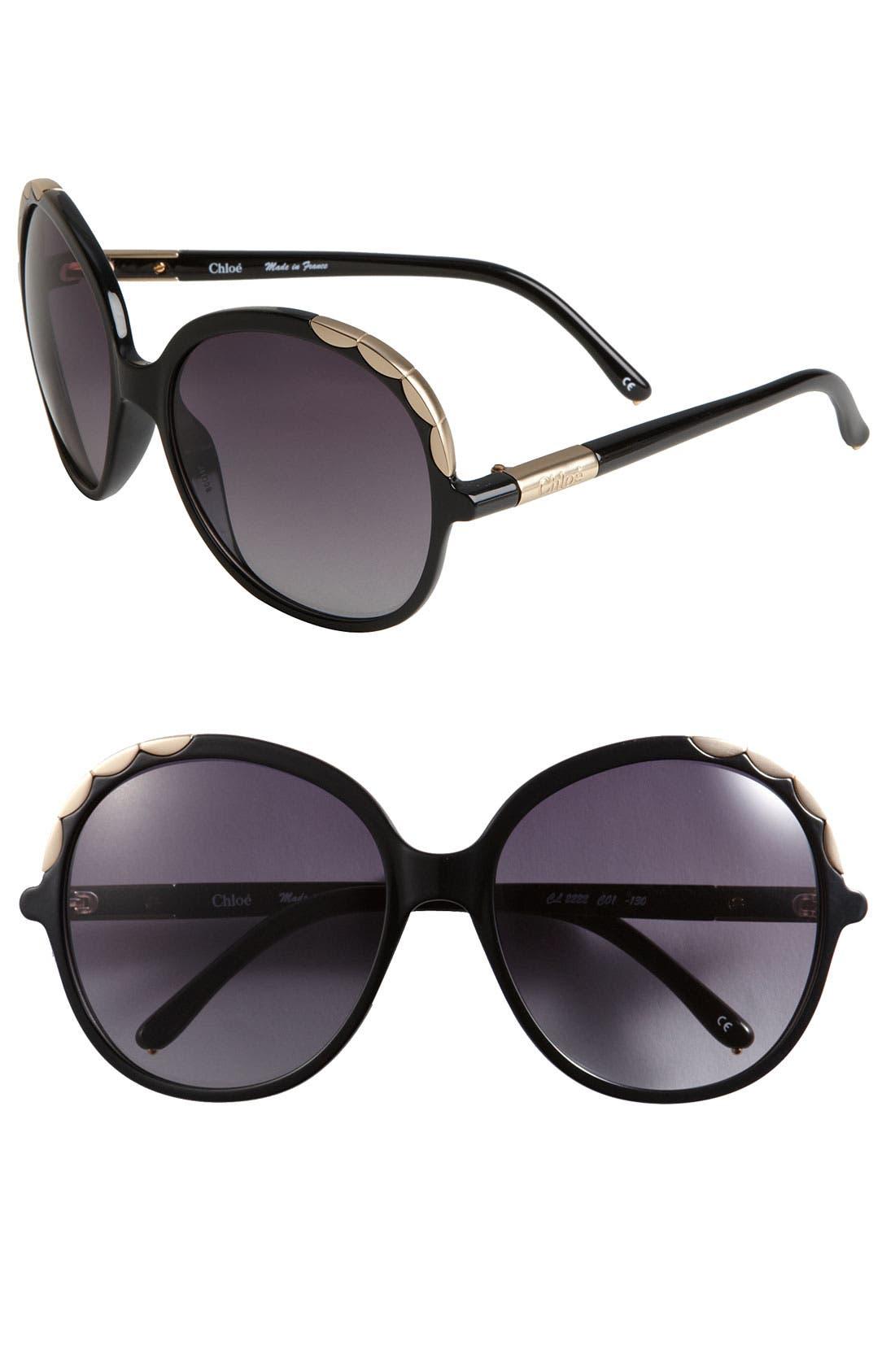 Main Image - Chloé Scalloped Metal Trim Sunglasses