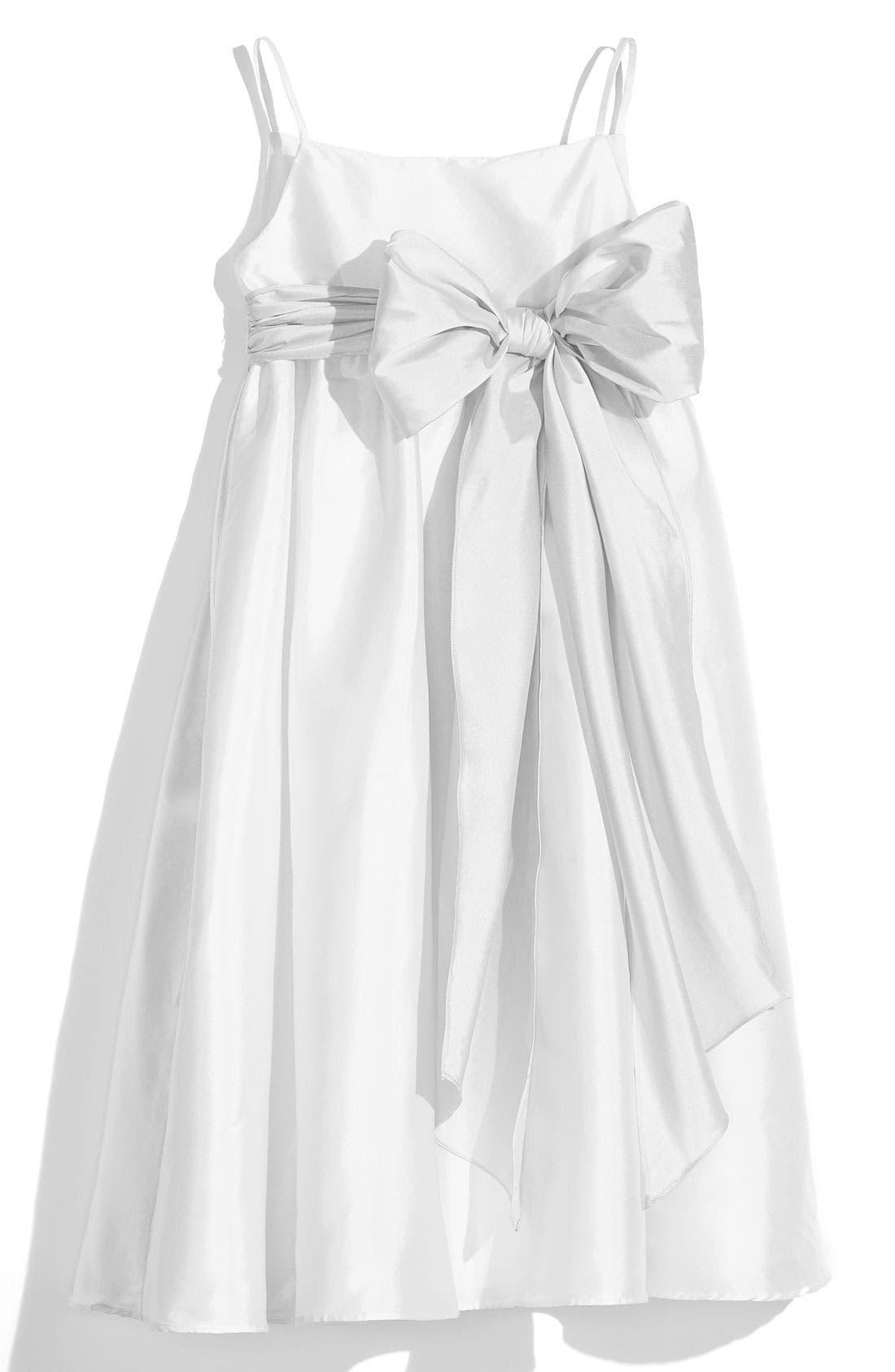White Sleeveless Empire Waist Taffeta Dress,                         Main,                         color, White/ White