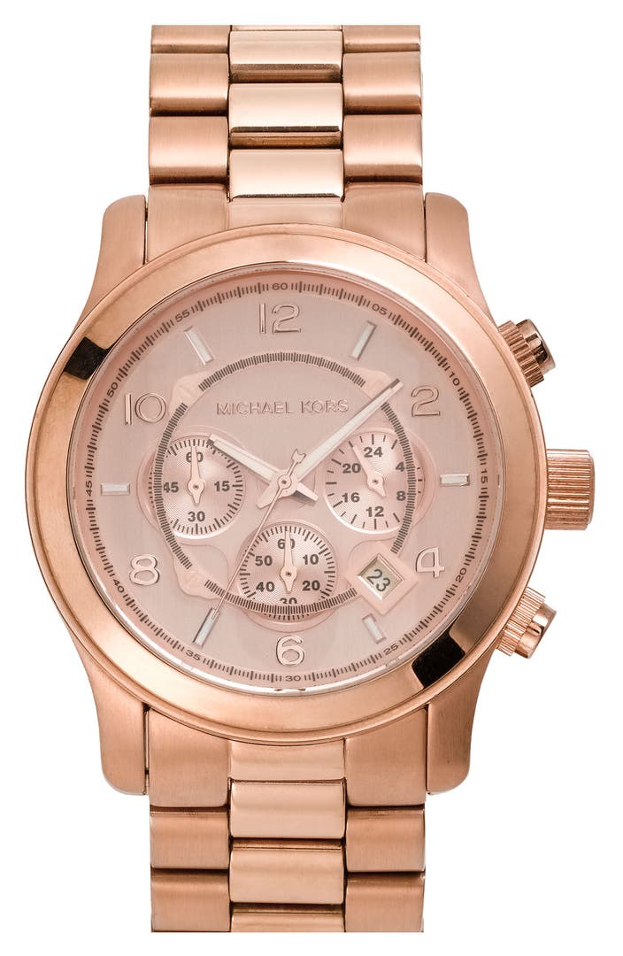 michael kors 39 large runway 39 rose gold plated watch 45mm nordstrom. Black Bedroom Furniture Sets. Home Design Ideas