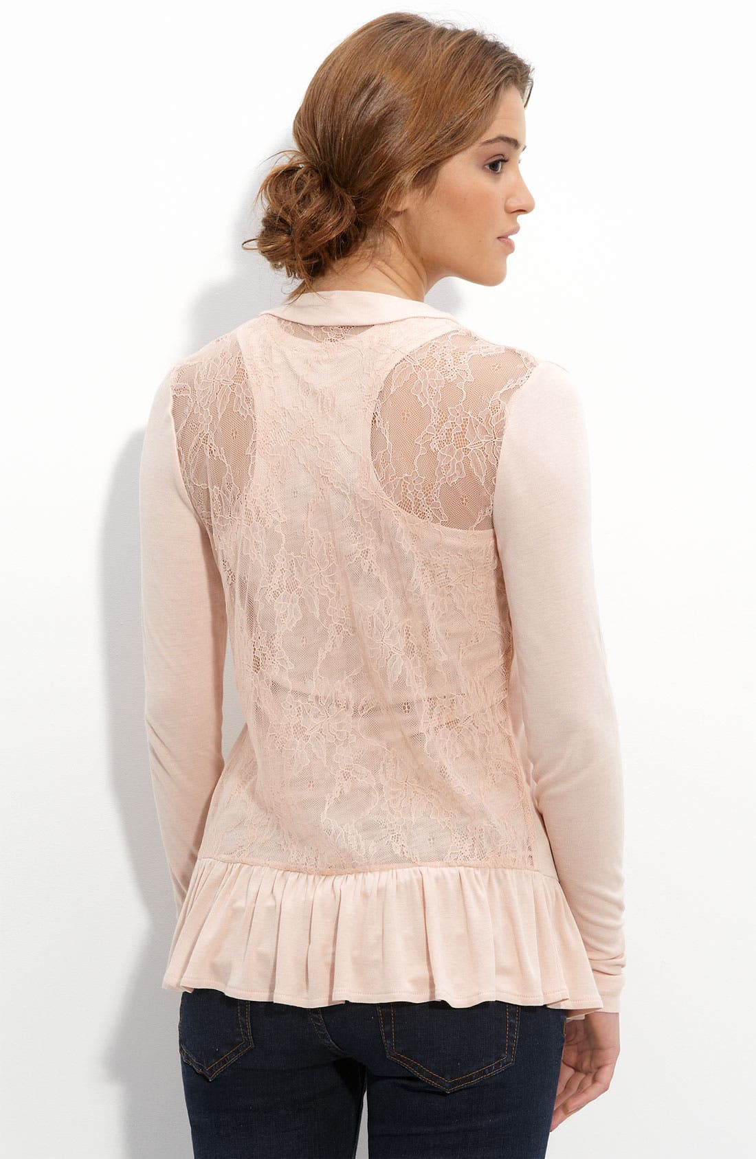 Alternate Image 1 Selected - Frenchi® Lace Back Cardigan (Juniors)