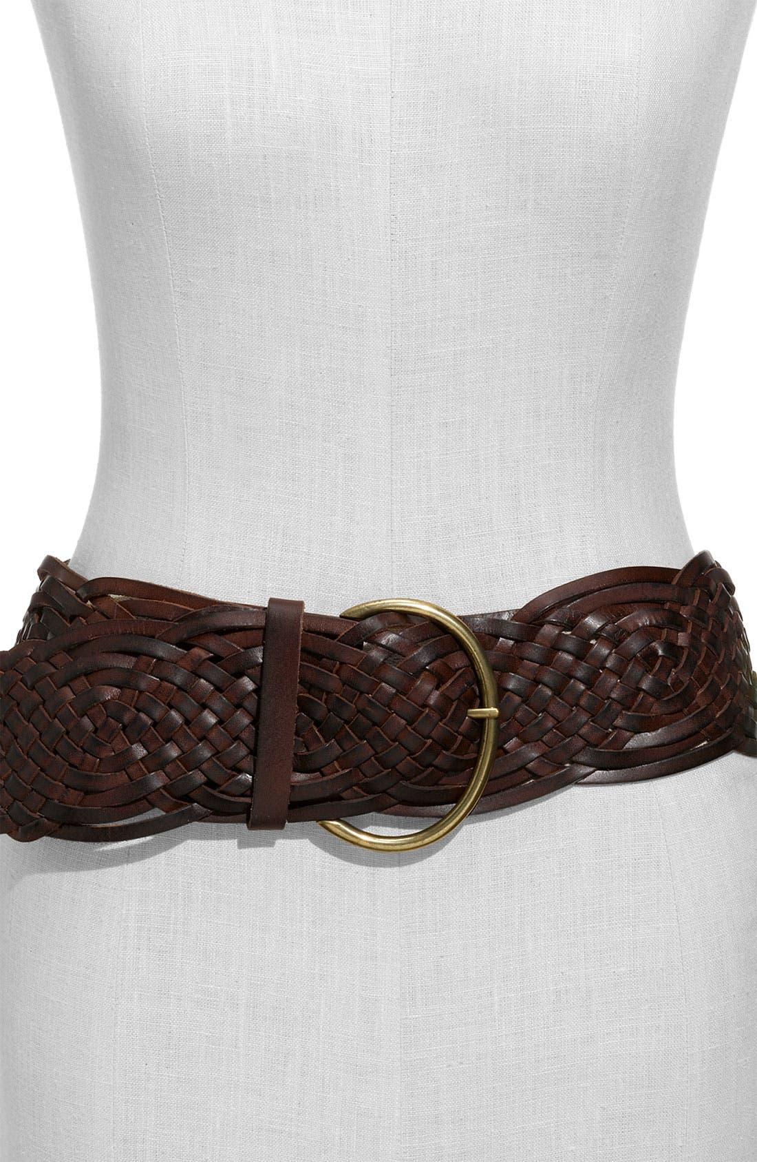 Alternate Image 1 Selected - Tarnish Braided Leather Belt
