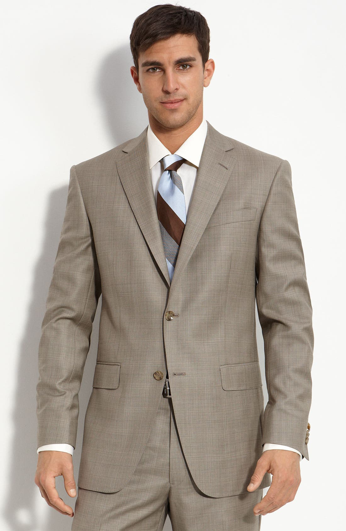 Tan Plaid Worsted Wool Suit,                             Main thumbnail 1, color,                             Tan