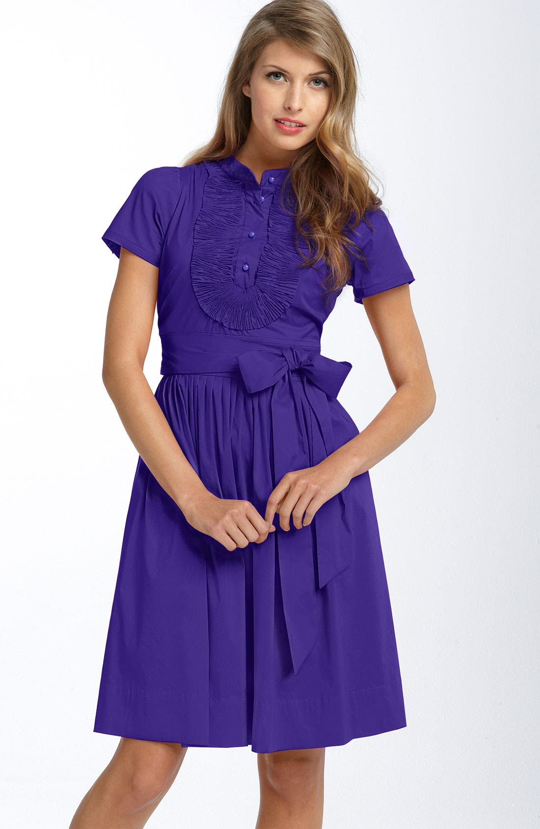 Alternate Image 1 Selected - Eliza J Ruffle Bib Stretch Cotton Shirtdress