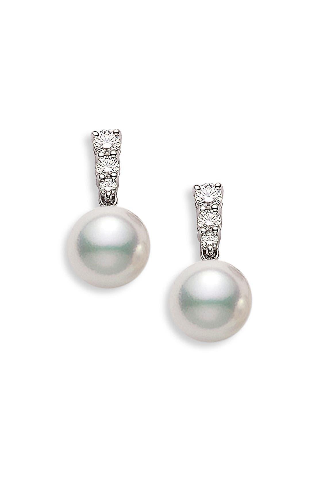 Main Image - Mikimoto 'Morning Dew' Akoya Cultured Pearl & Diamond Earrings
