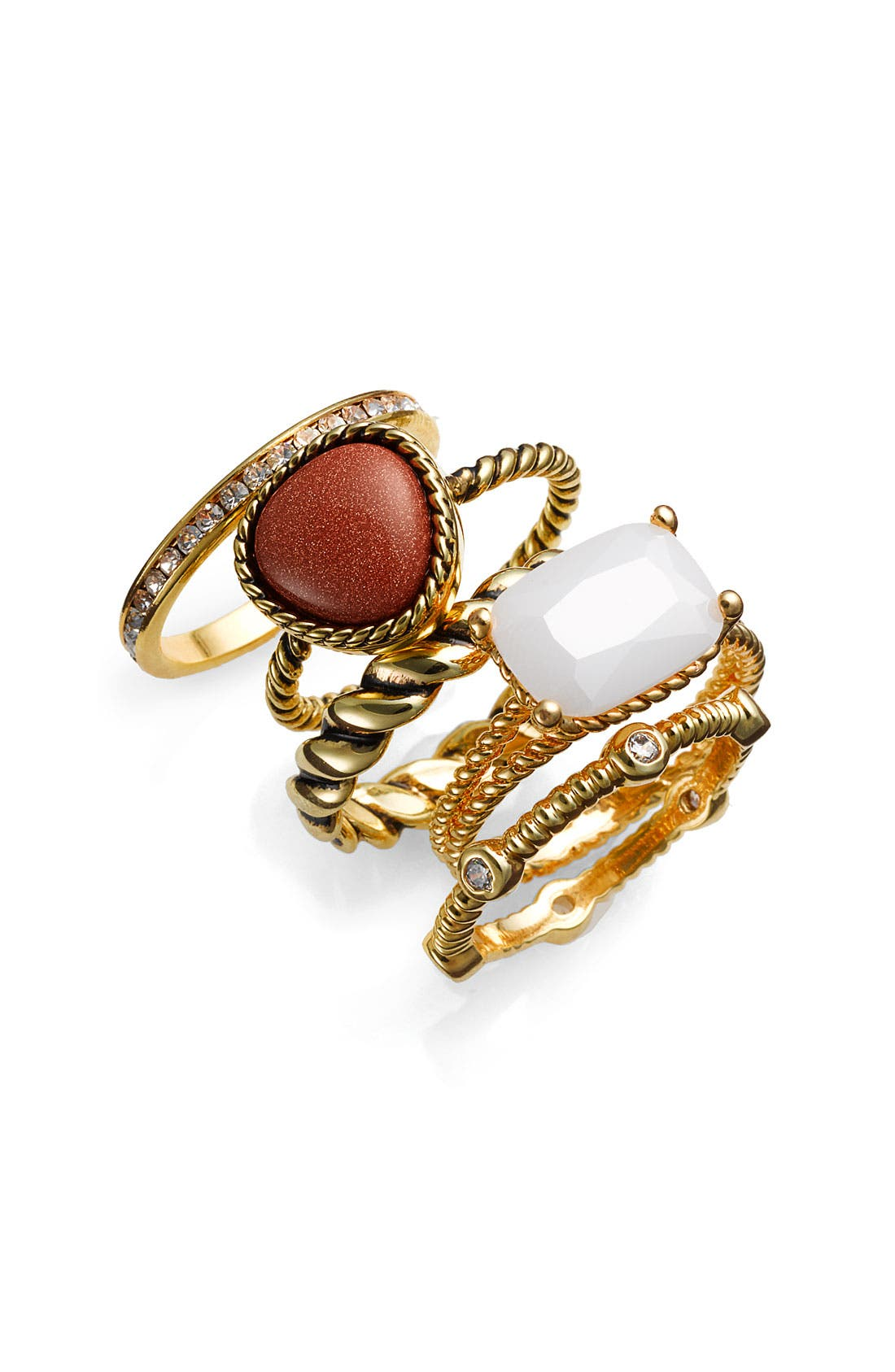 Alternate Image 1 Selected - Ariella Collection Mixed Stackable Rings (Set of 5)