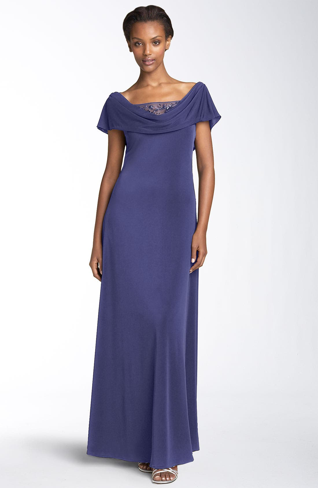 Main Image - Patra Drape Neck Gown with Beaded Illusion Mesh