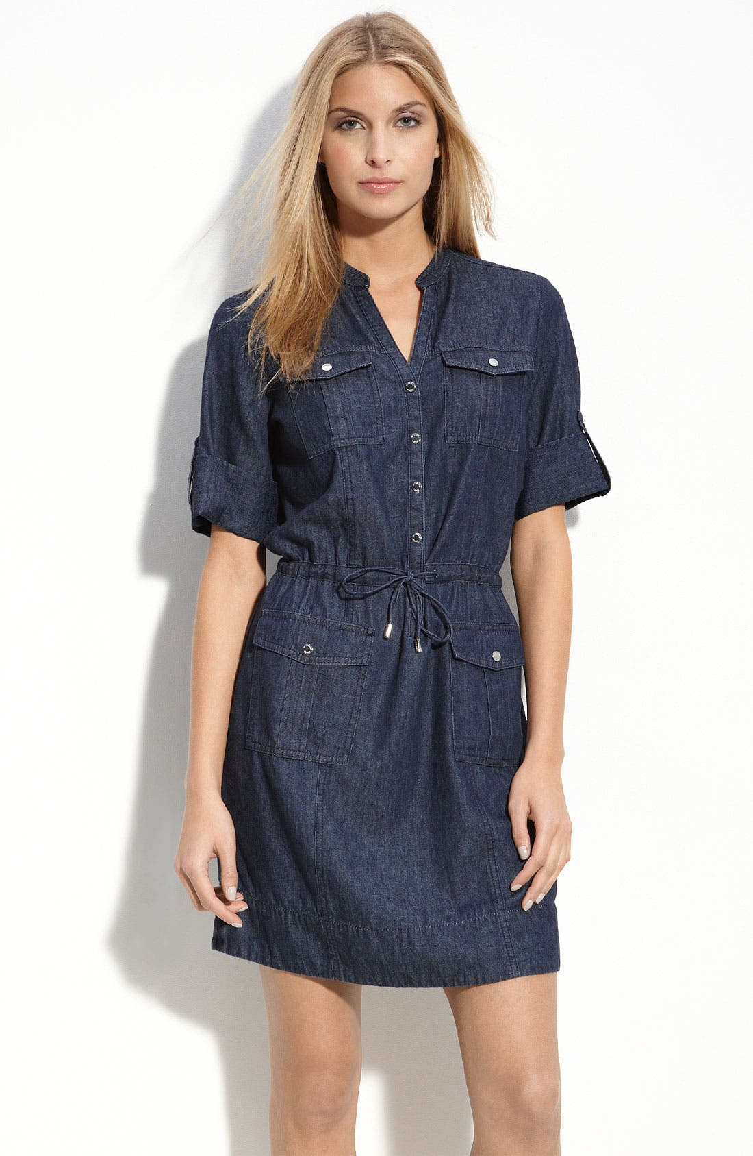 Alternate Image 1 Selected - MICHAEL Michael Kors Denim Safari Dress (Petite)