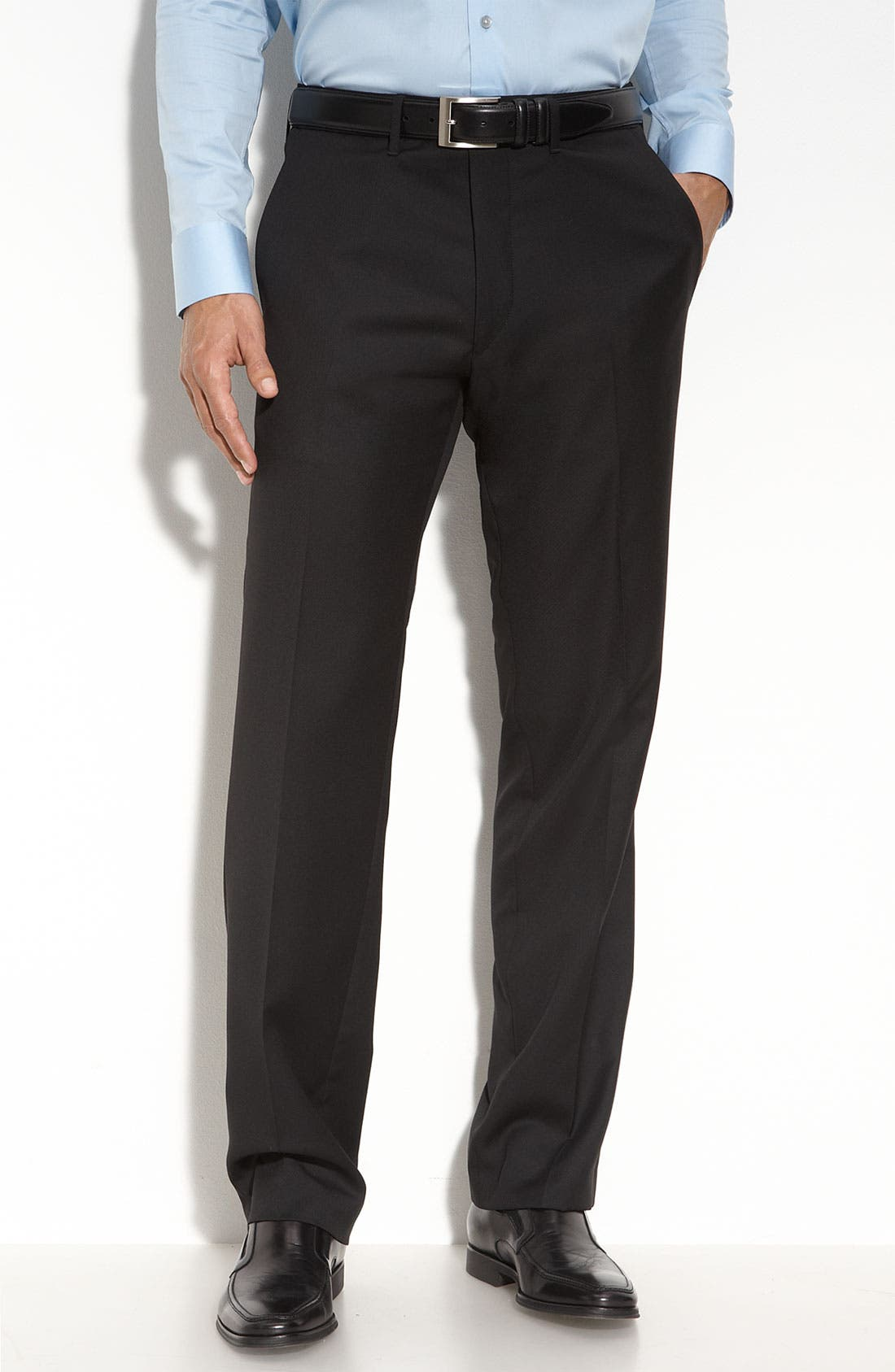 Main Image - BOSS Black 'Cagan' Flat Front Wool Trousers