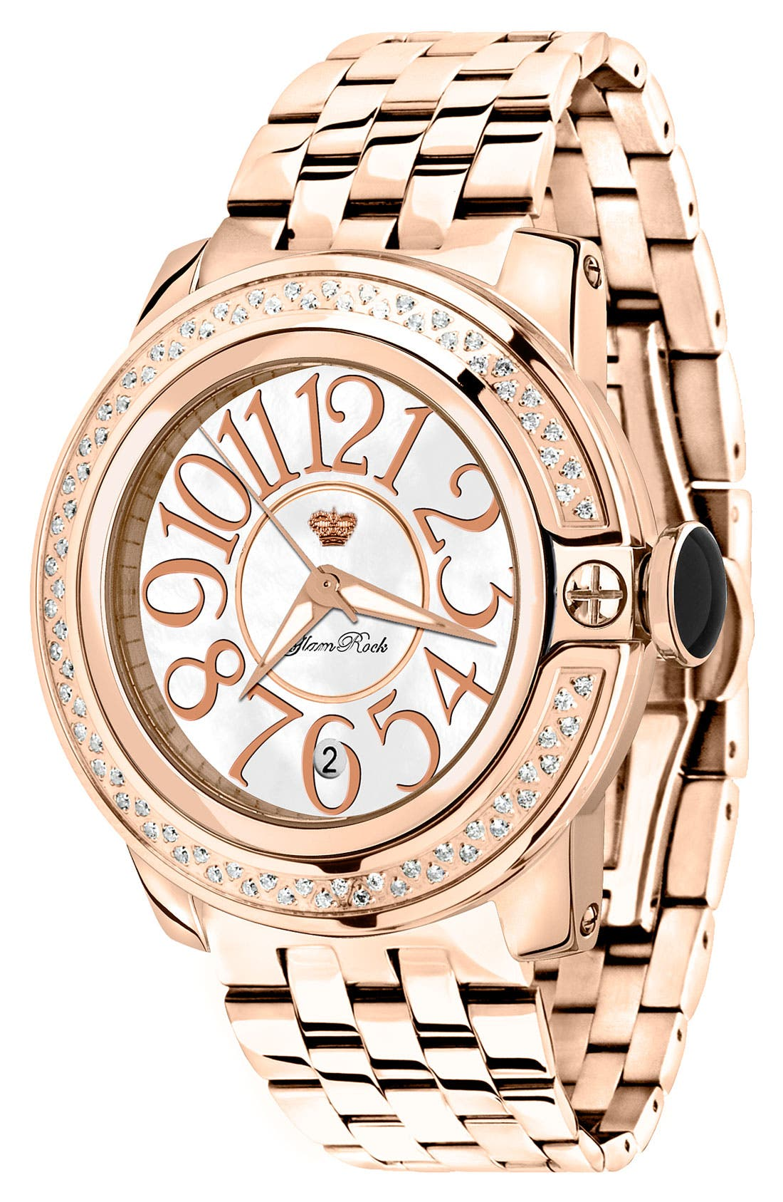 Alternate Image 1 Selected - Glam Rock 'So Be Diamond' Rose Gold Bracelet Watch
