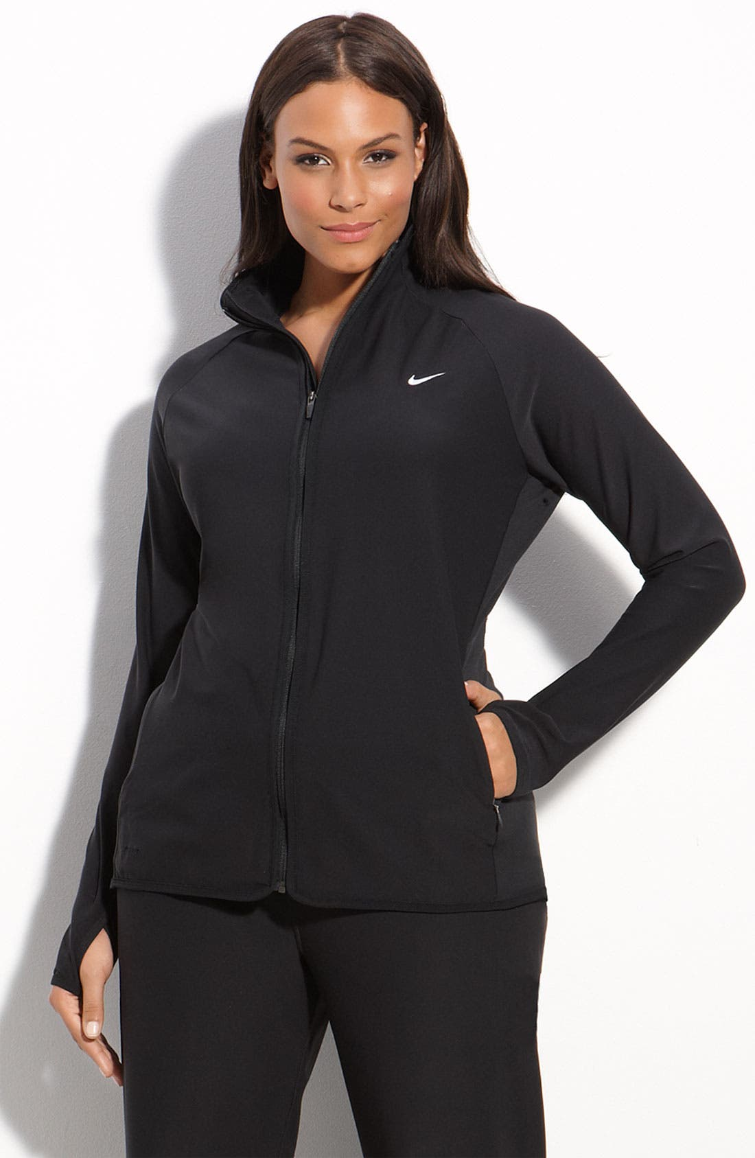 Alternate Image 1 Selected - Nike Zip Front Workout Jacket (Plus)