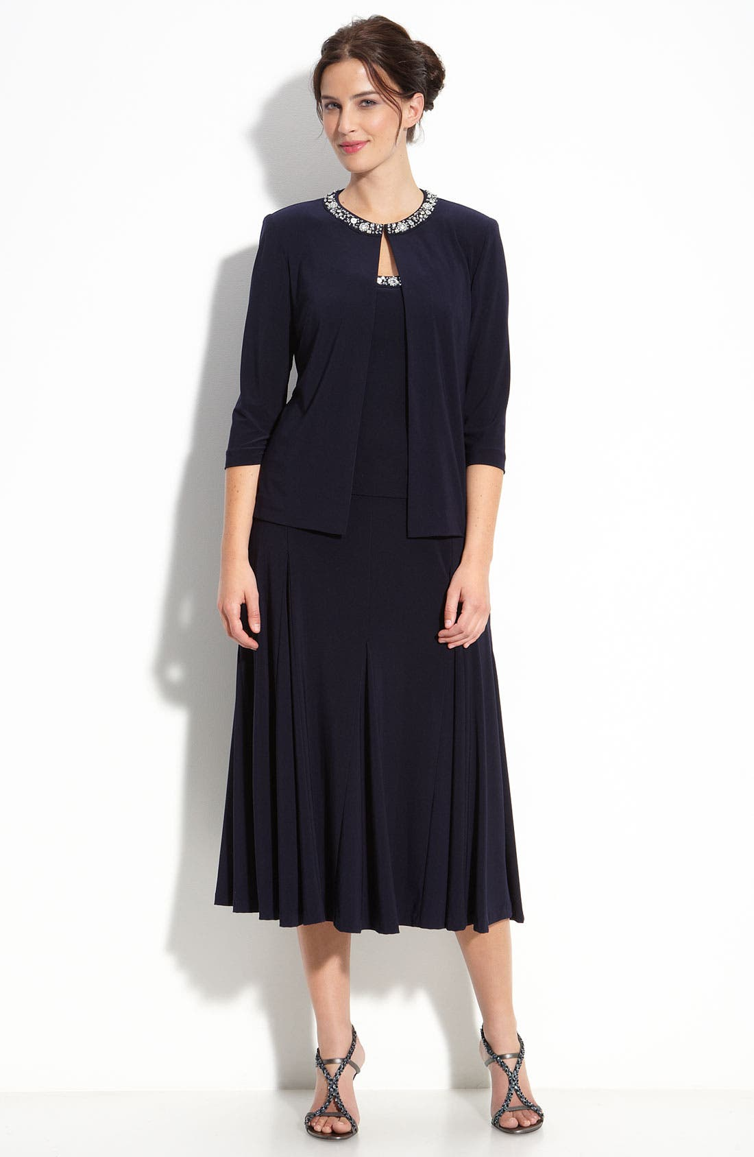 Main Image - Alex Evenings Beaded Jersey Dress & Jacket