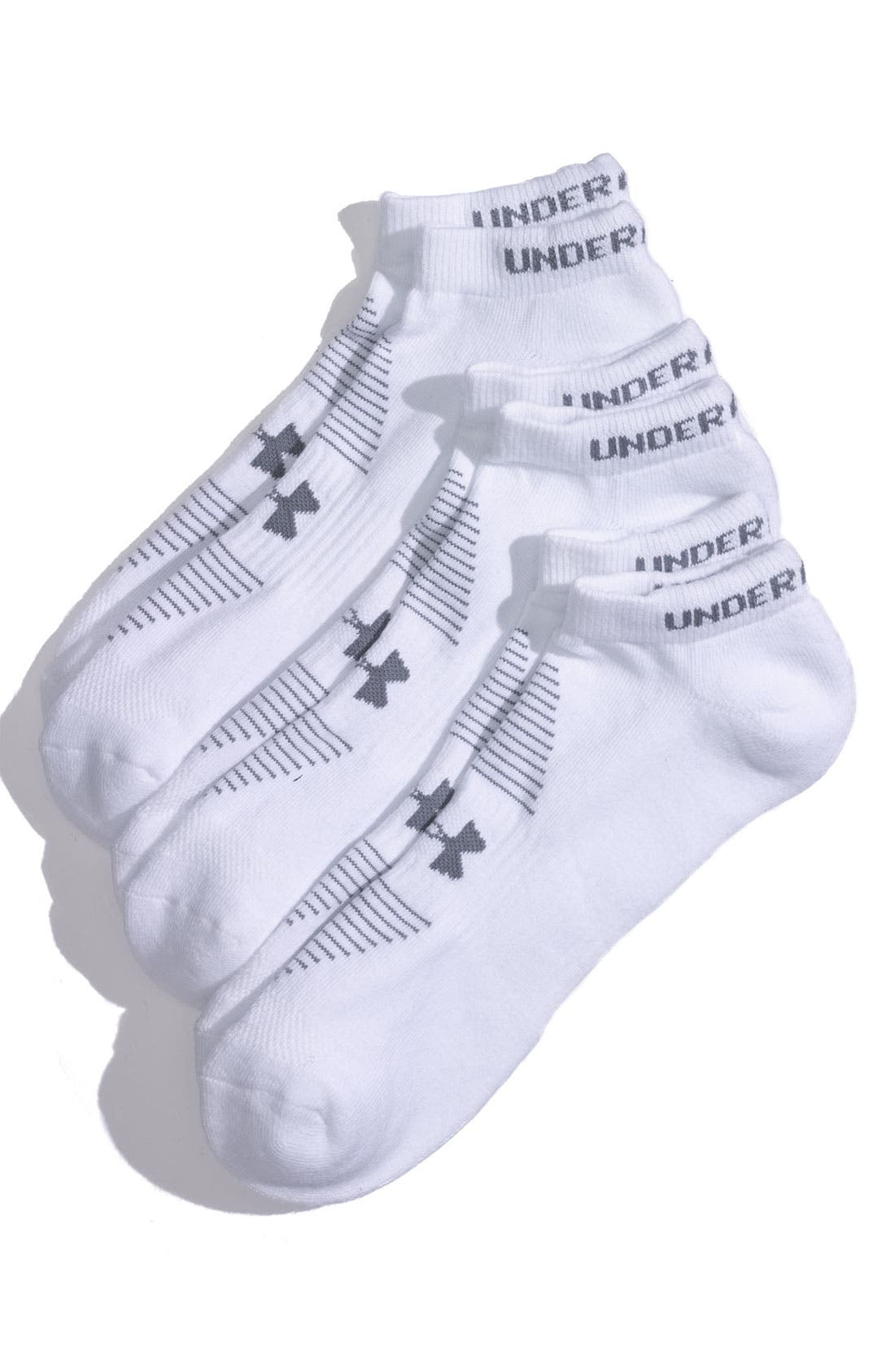 Main Image - Under Armour 'Charged' HeatGear® No-Show Socks (3-Pack) (Men)