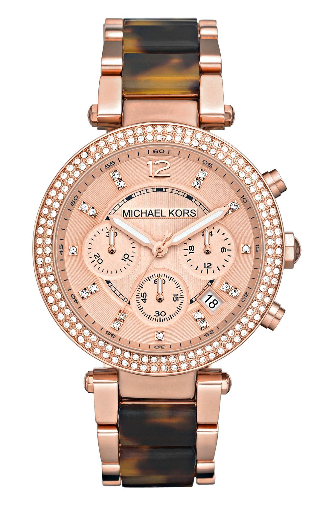 'Parker' Blush Acetate Link Chronograph Watch, 39mm,                         Main,                         color, Rose Gold/ Tortoise