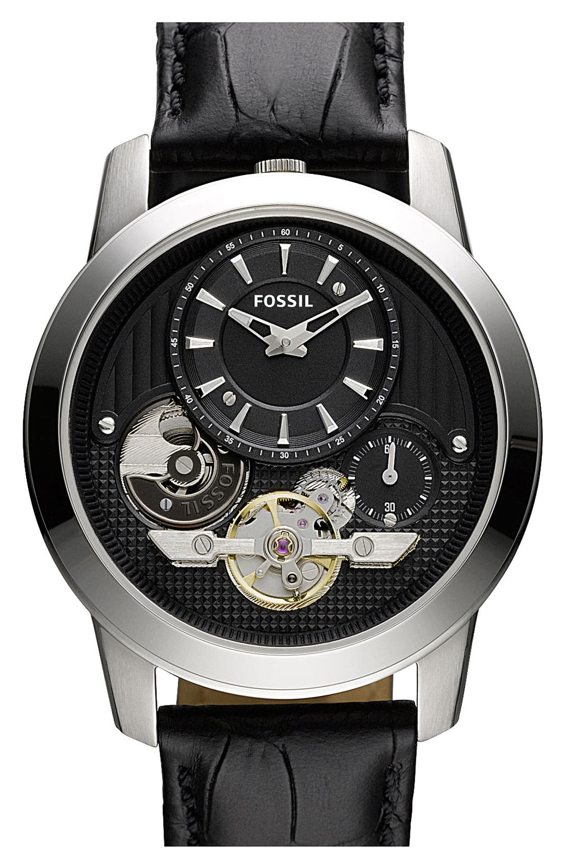Main Image - Fossil 'Twist' Leather Strap Watch, 42mm