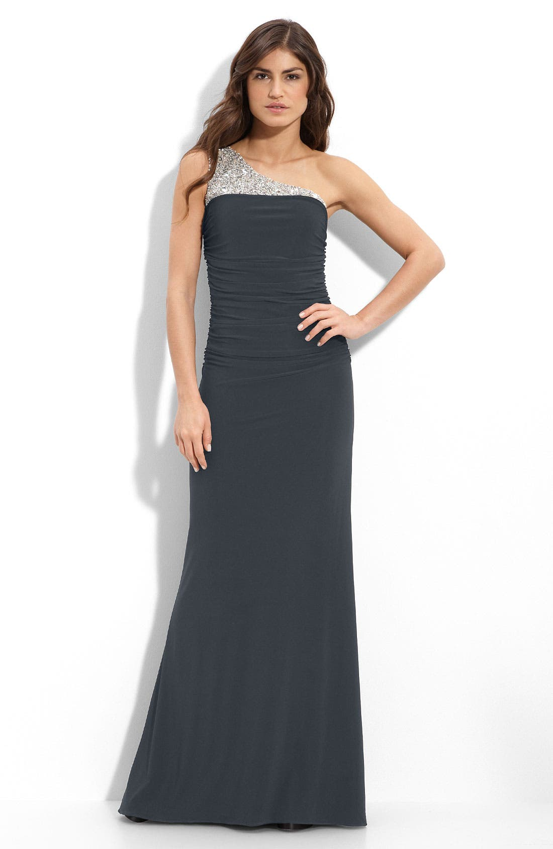Alternate Image 1 Selected - JS Boutique Beaded One Shoulder Jersey Gown