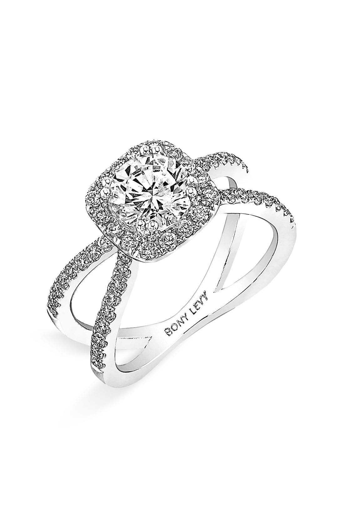 Alternate Image 1 Selected - Bony Levy Crisscross Pavé Diamond Engagement Ring Setting (Nordstrom Exclusive)