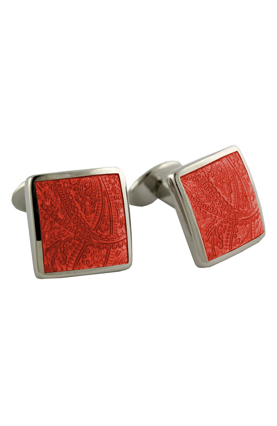 DAVID DONAHUE Paisley Orange Sterling Silver Cuff Links