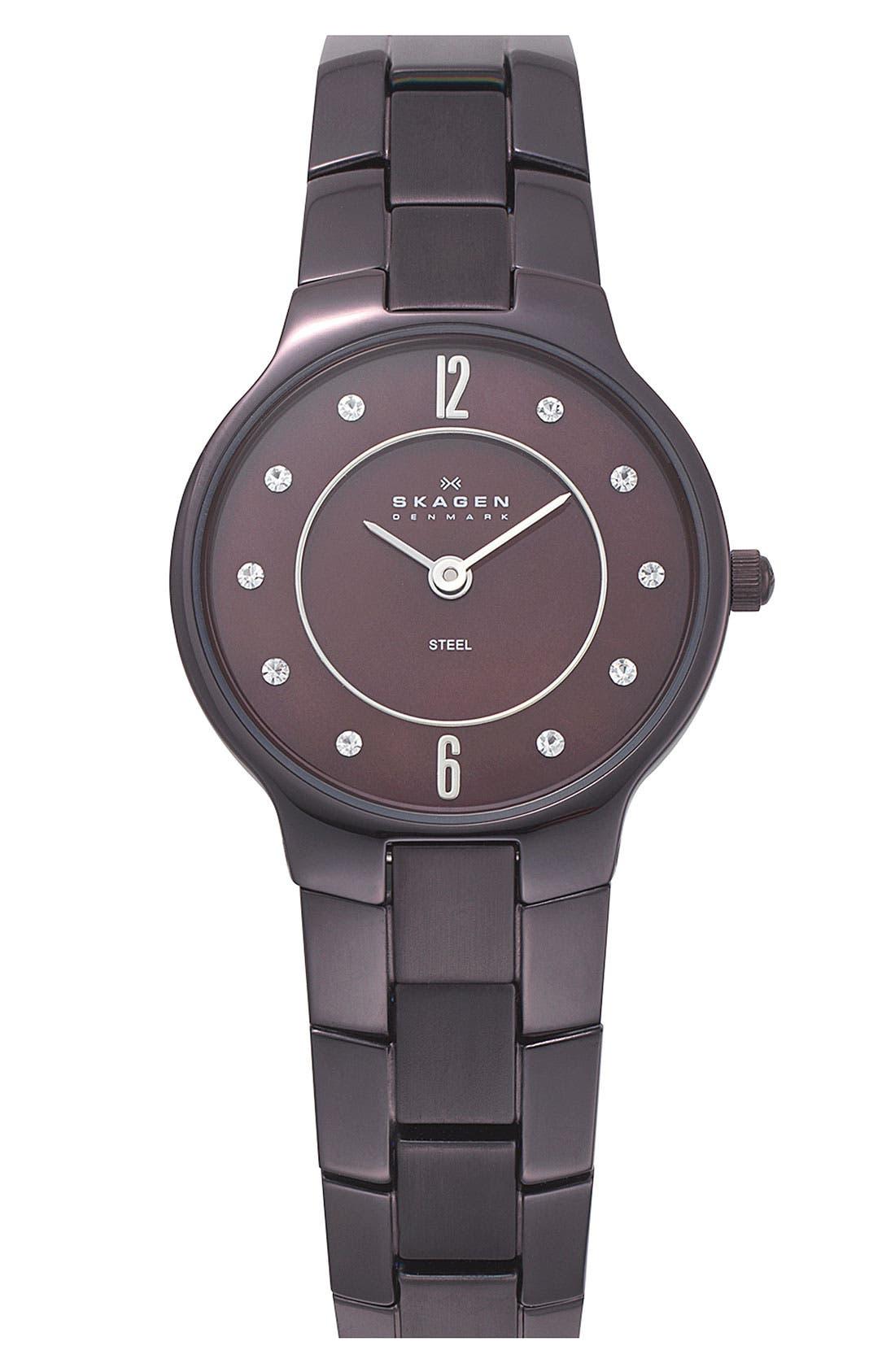 Alternate Image 1 Selected - Skagen 'Link' Crystal Accent Bracelet Watch