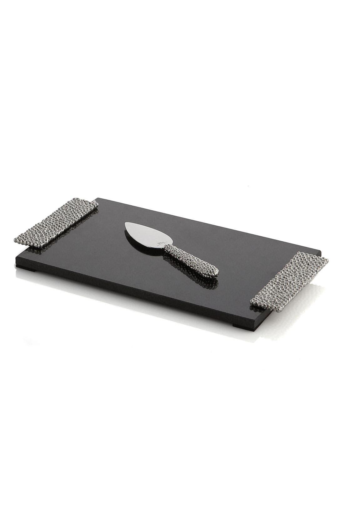 'Molten' Cheeseboard & Knife,                         Main,                         color, Silver
