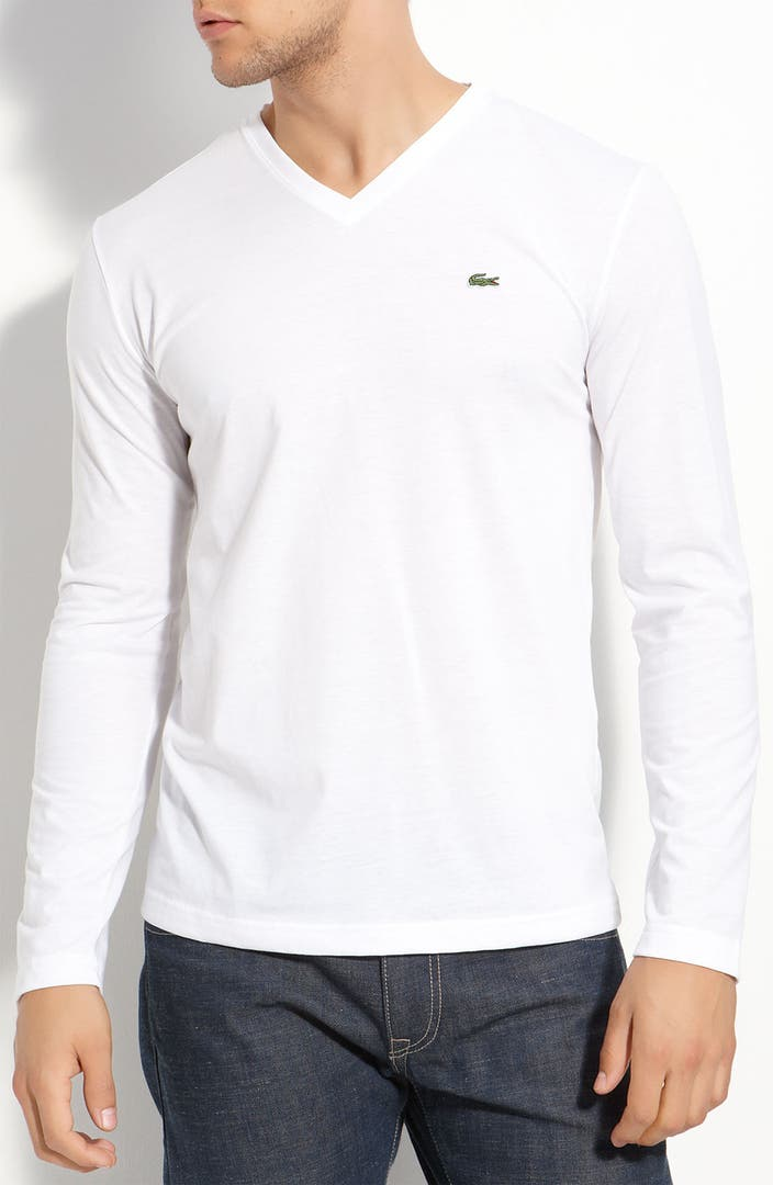 Lacoste pima cotton v neck t shirt nordstrom for Pima cotton tee shirts