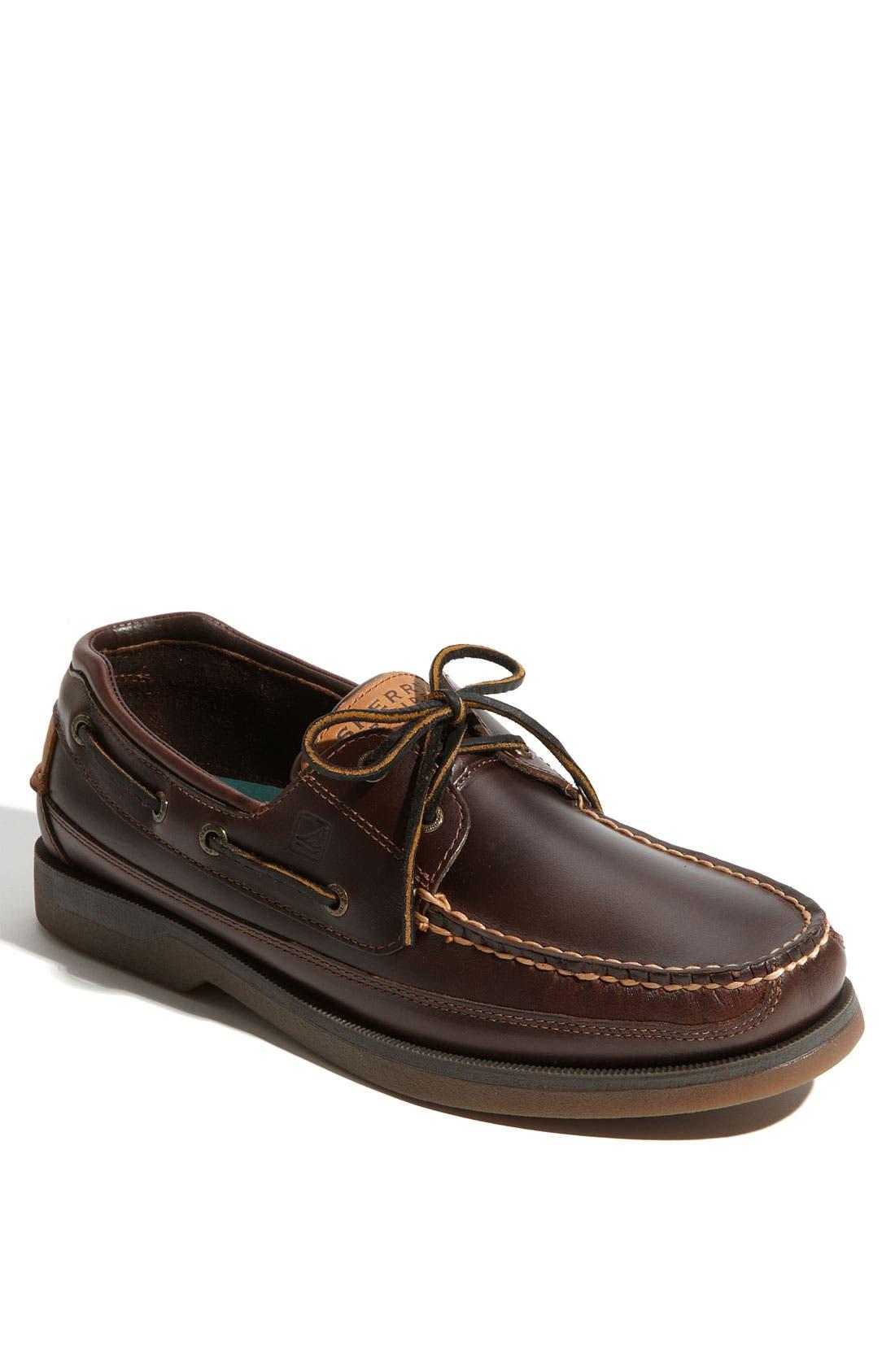 Top-Sider<sup>®</sup> 'Mako Two-Eye Canoe Moc' Boat Shoe,                         Main,                         color, Dark Brown