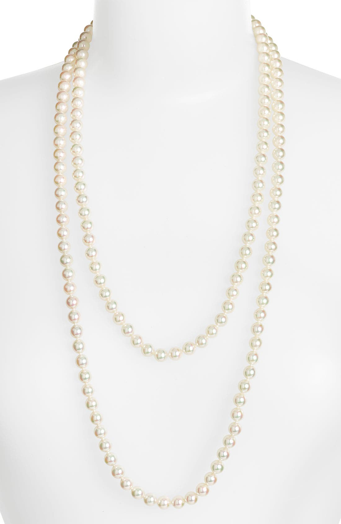 7mm Round Pearl Endless Rope Necklace,                             Main thumbnail 1, color,                             White/ Silver