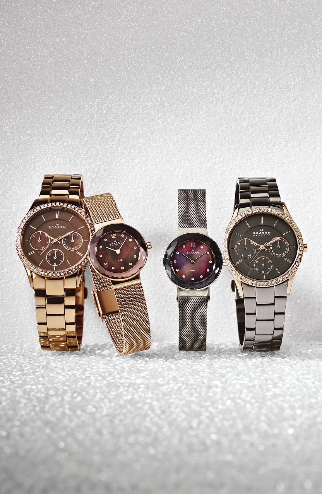 Alternate Image 3  - Skagen 'Leonora' Faceted Glass Bezel Watch