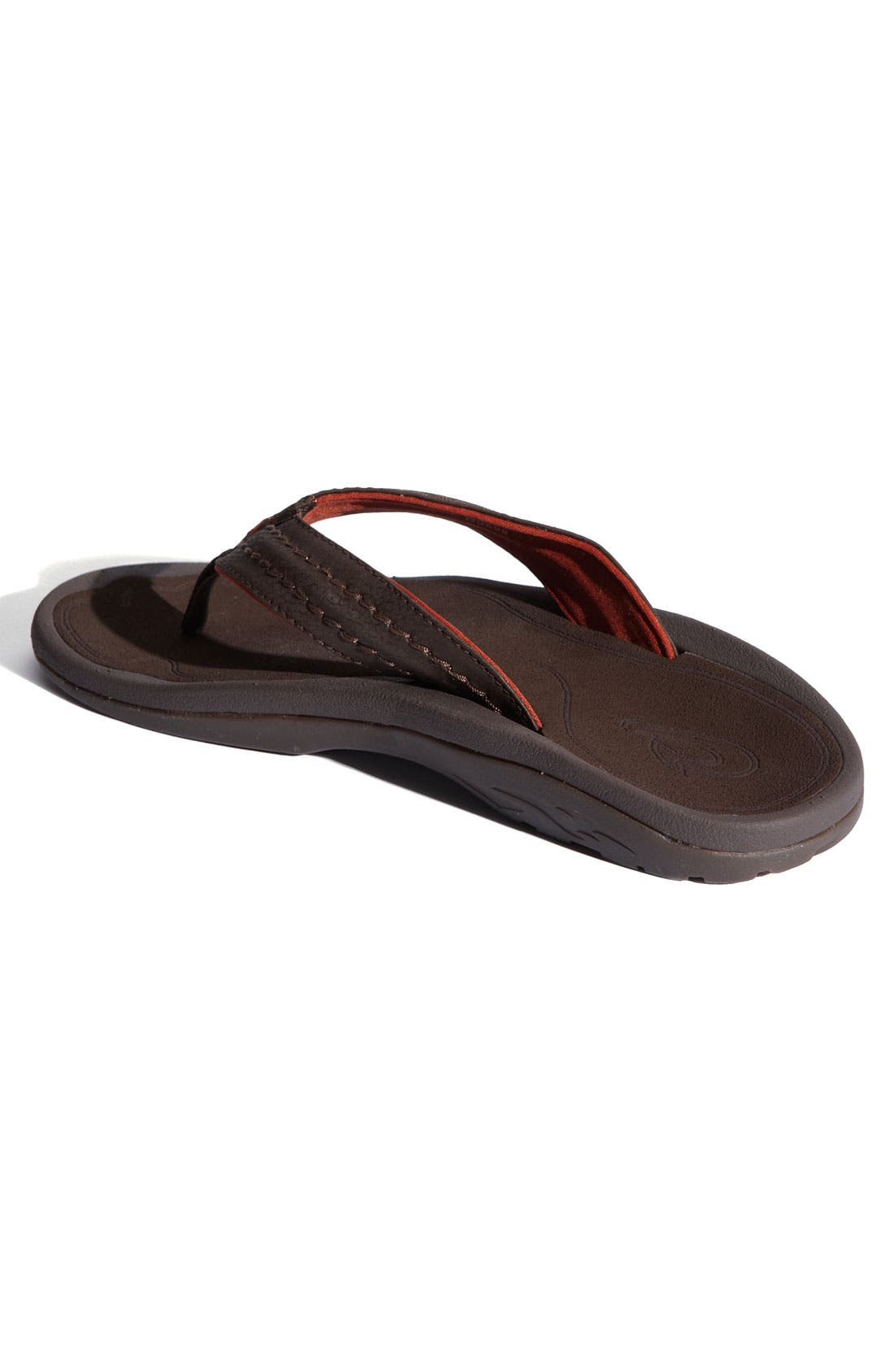Hokua Flip Flop,                             Alternate thumbnail 2, color,                             Dark Java Faux Leather