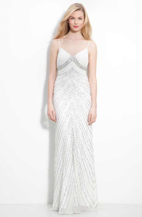 Adrianna Papell Beaded Chiffon Gown | Nordstrom