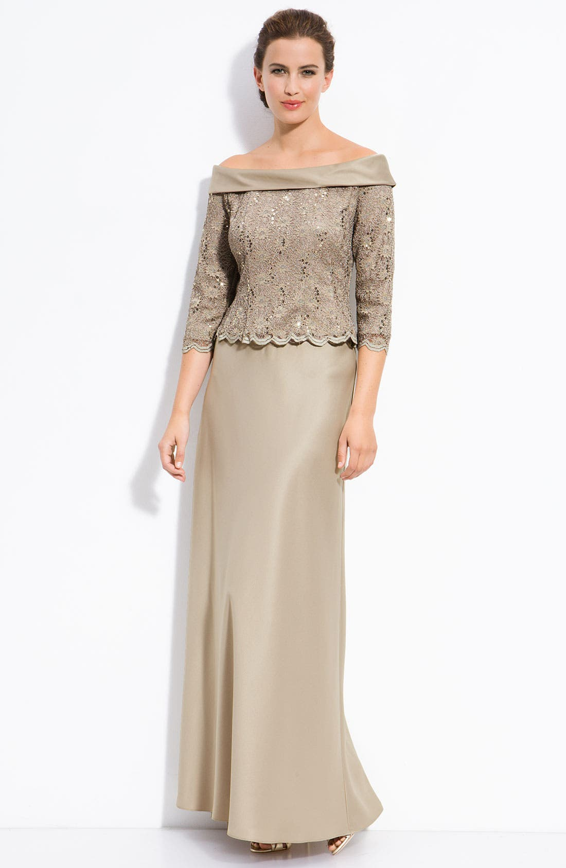 Main Image - Alex Evenings Off the Shoulder Lace Top with Satin Skirt