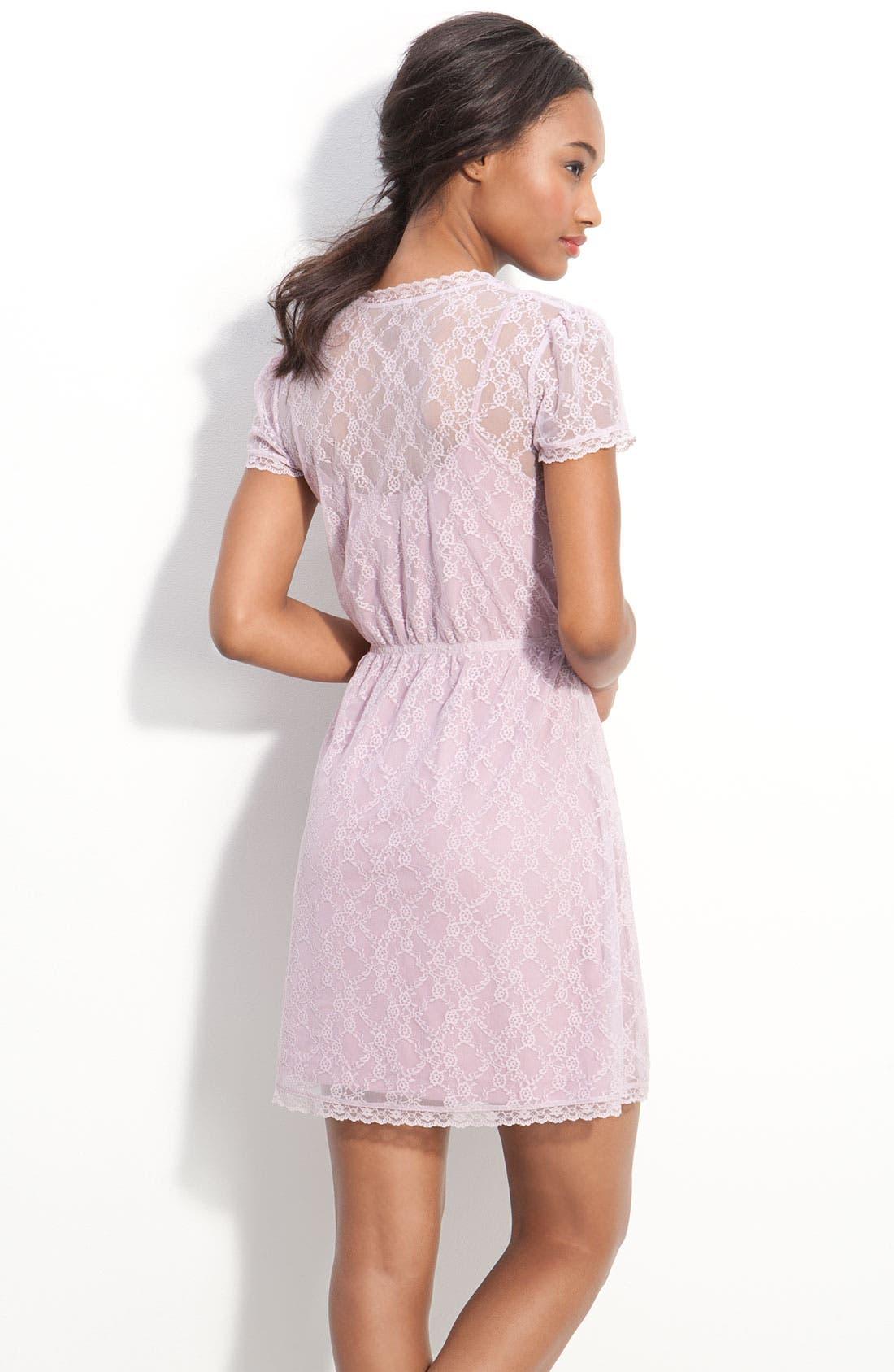 Alternate Image 2  - Frenchi® Layered Lace Faux Wrap Dress (Juniors)