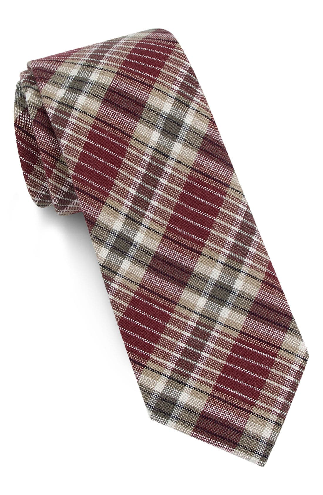 Main Image - 1901 Plaid Skinny Tie