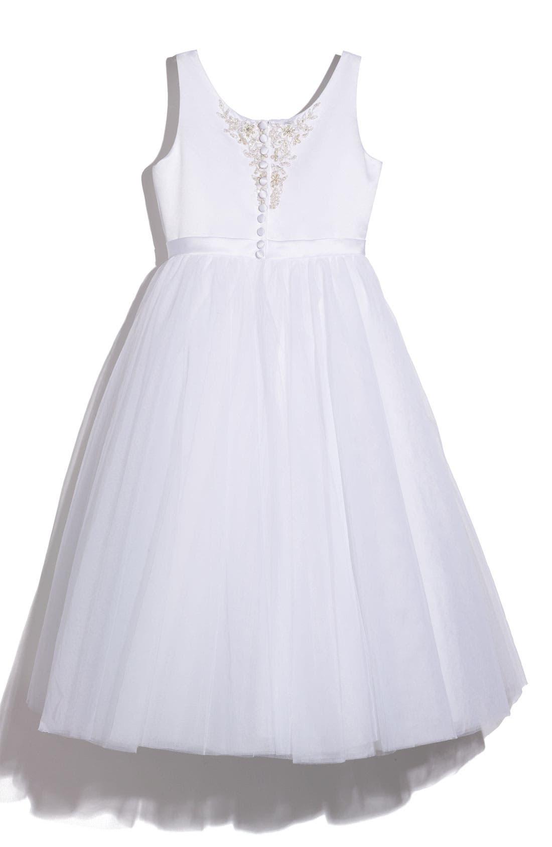 Alternate Image 2  - Joan Calabrese for Mon Cheri Satin Sequin Dress (Big Girls)