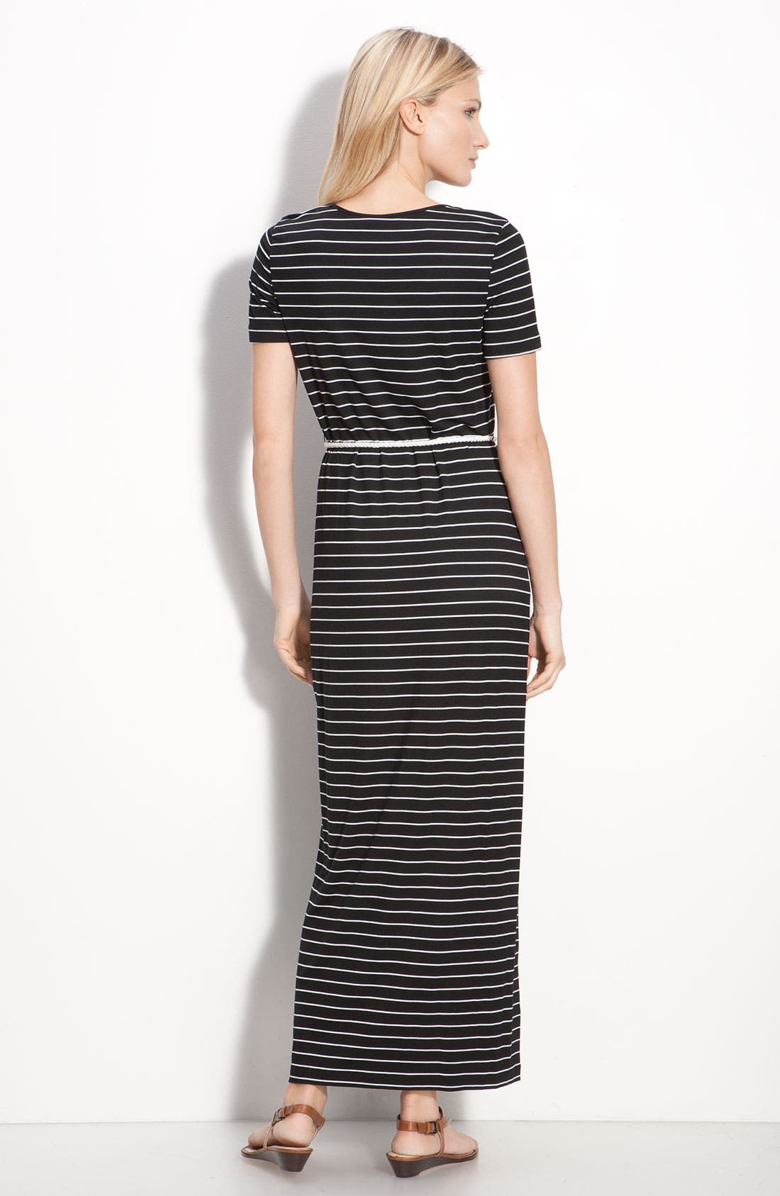 Alternate Image 2  - Calvin Klein Stripe Cap Sleeve Maxi Dress