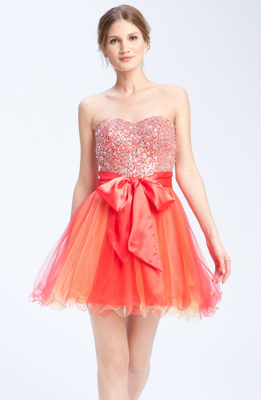 Main Image - Sean Collection Embellished Strapless Tulle Cocktail Dress (Online Only)