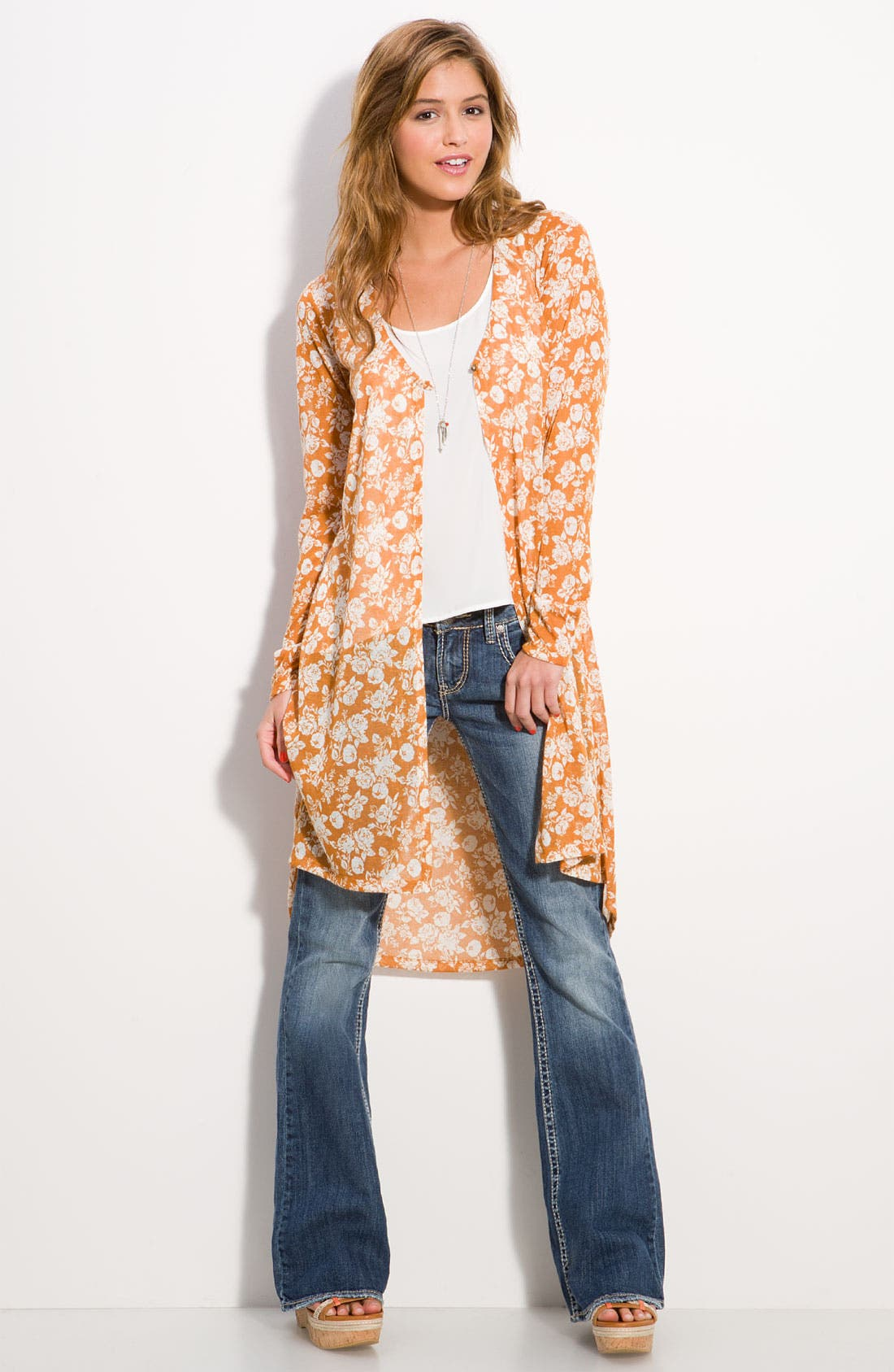 Alternate Image 1 Selected - h.i.p. Floral Midi Cardigan (Juniors)