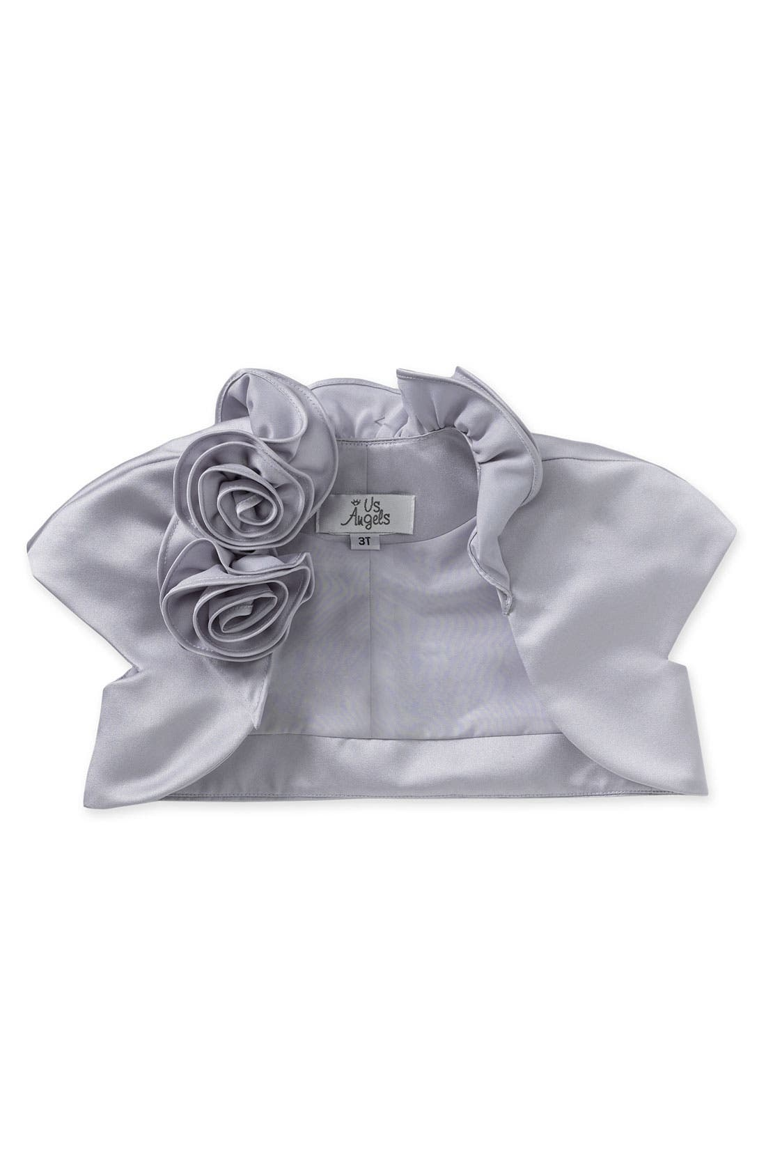 Cap Sleeve Satin Bolero,                             Main thumbnail 1, color,                             Pewter
