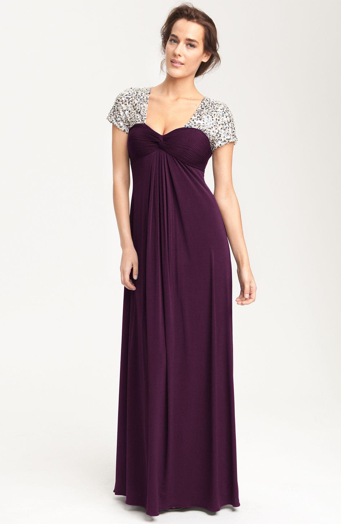 Main Image - JS Boutique Sequin Trim Jersey Gown