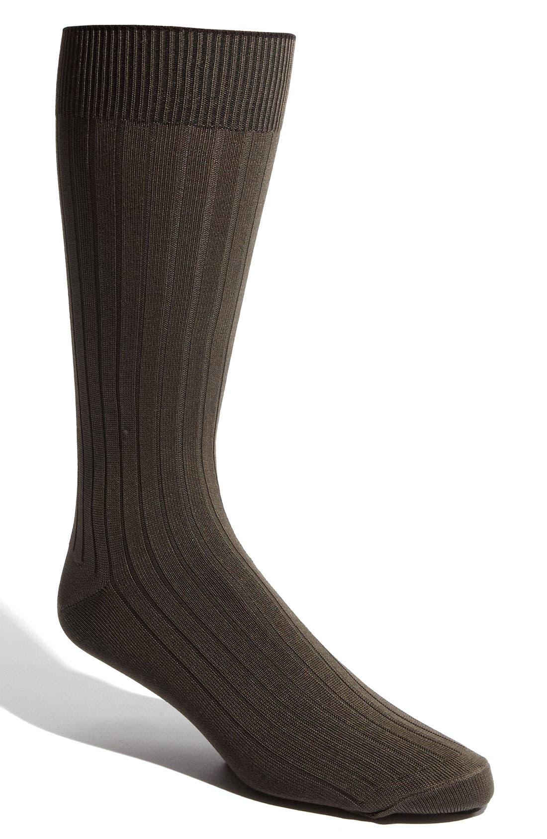 Cotton Blend Socks,                             Main thumbnail 1, color,                             Olive