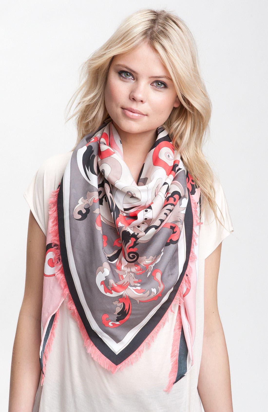Alternate Image 1 Selected - Emilio Pucci 'Delft' Cotton & Silk Triangle Scarf