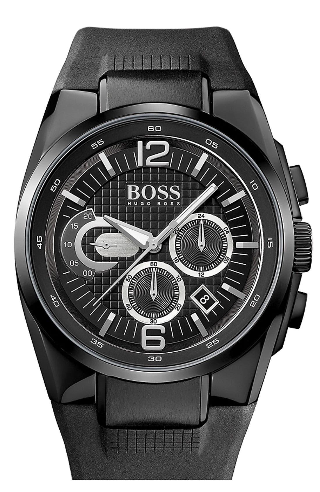 Alternate Image 1 Selected - BOSS HUGO BOSS 'HB2005' Chronograph Rubber Strap Watch, 44mm