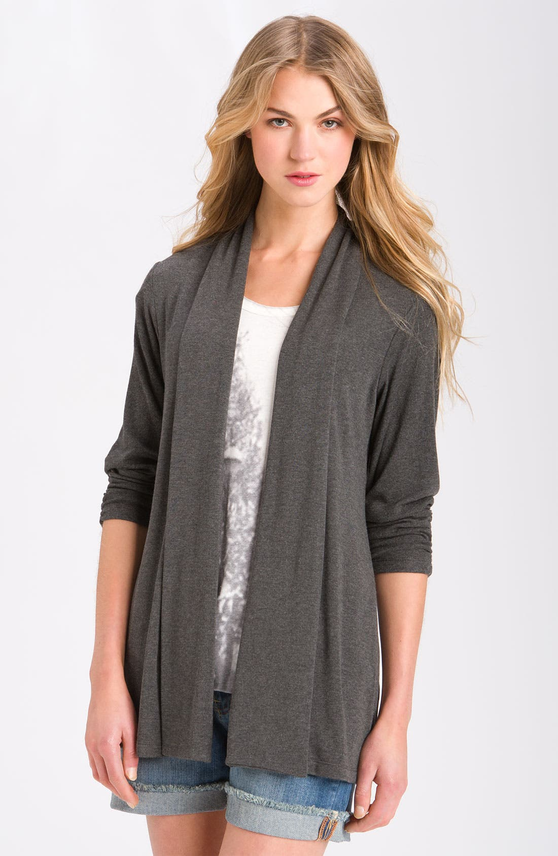 MOD.lusive Ruched Sleeve Long Cardigan,                         Main,                         color, Heather Charcoal