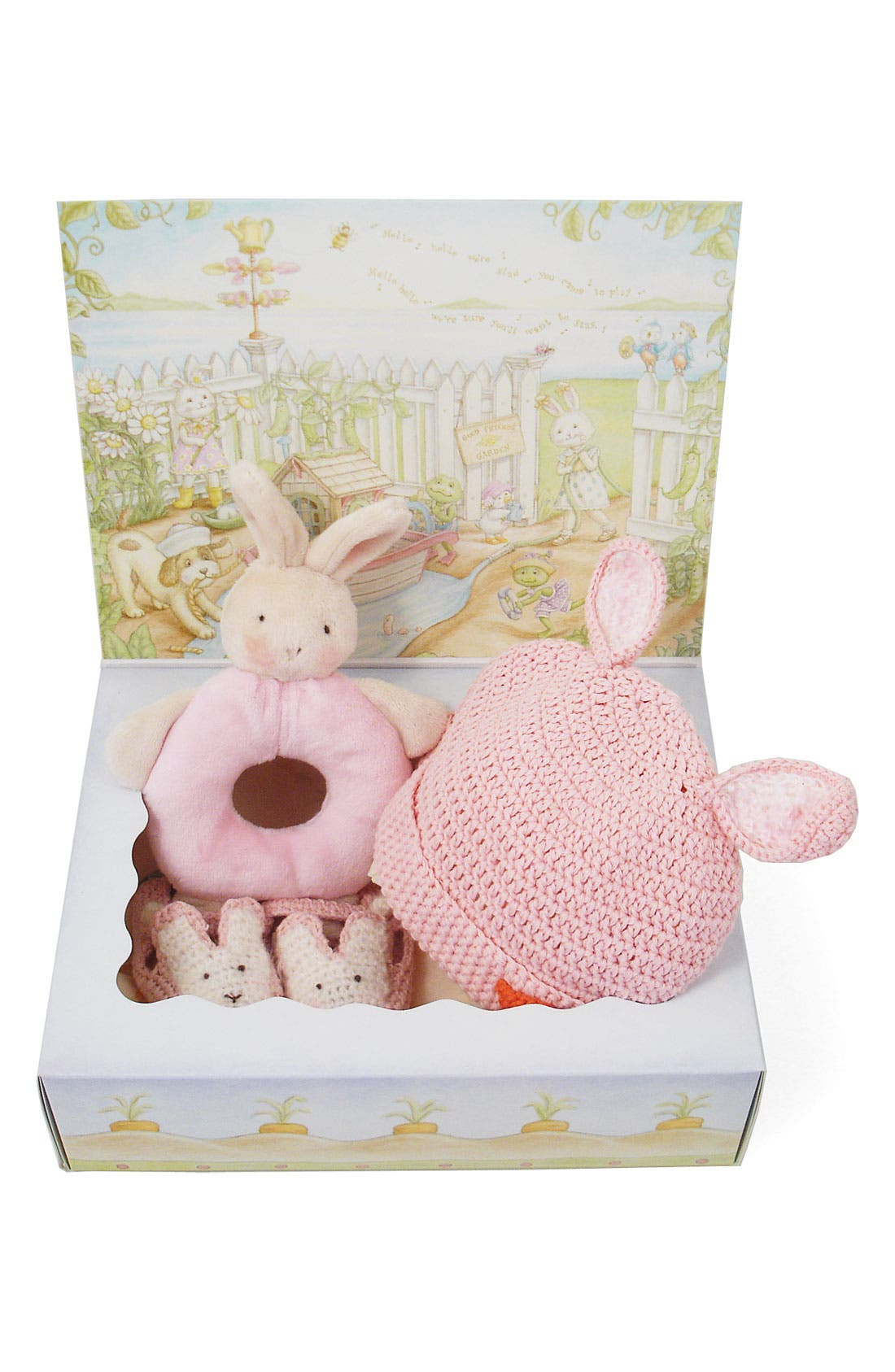 Alternate Image 2  - Bunnies by the Bay 'Wee Bunny' Rattle, Bootie & Hat Set (Baby)