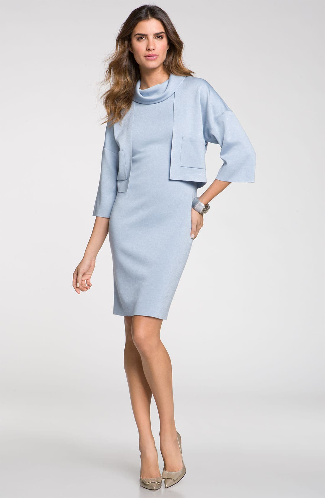 Alternate Image 4  - St. John Collection Stand Away Collar Milano Knit Dress