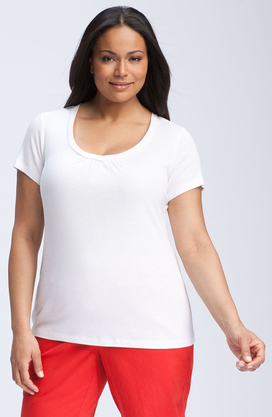 Main Image - Sejour Sweetheart Scoop Neck Tee (Plus)