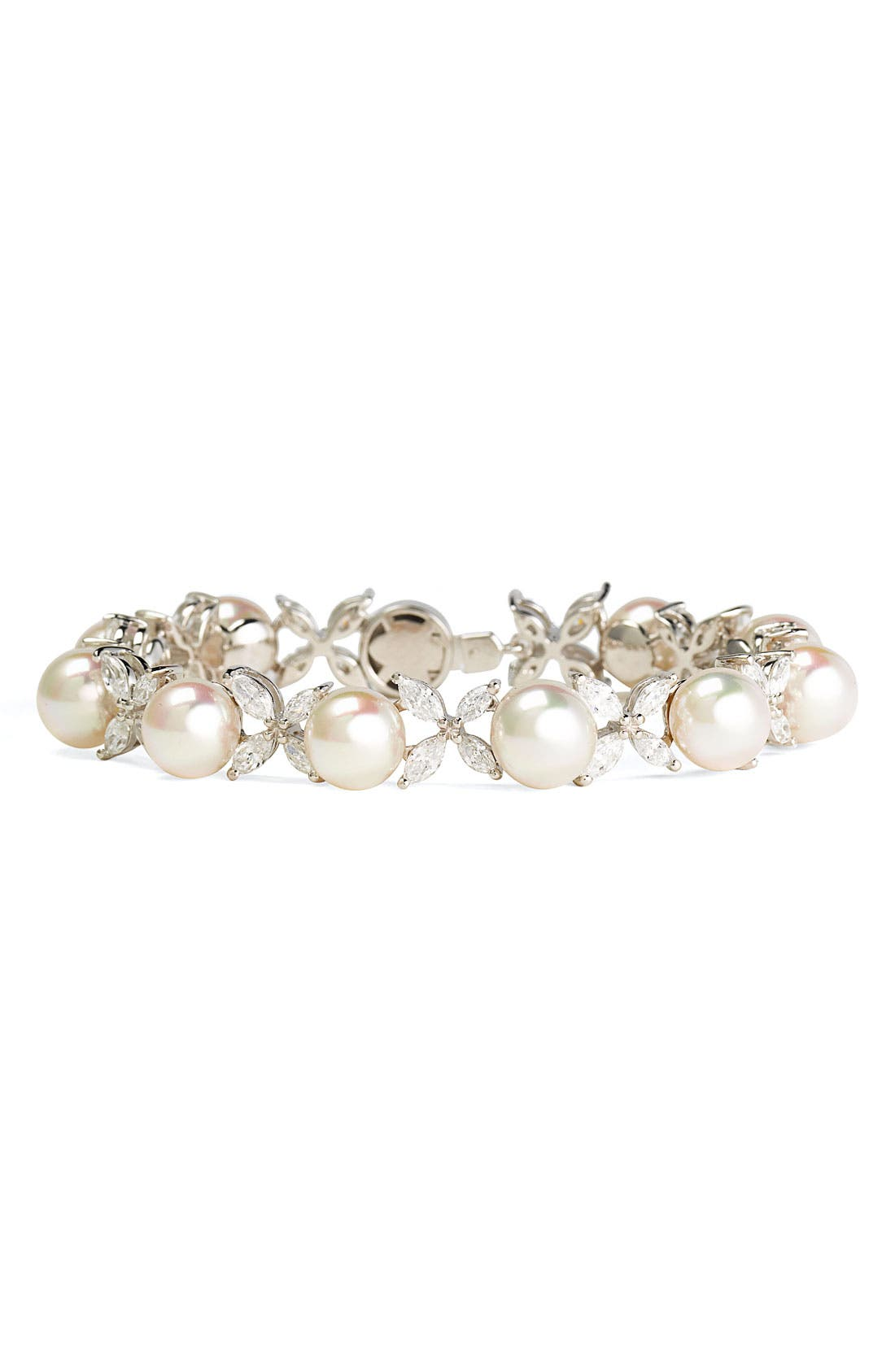 Alternate Image 1 Selected - Majorica 'Butterfly' Cubic Zirconia & Pearl Bracelet